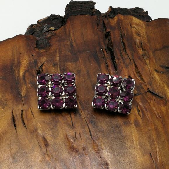 Vintage Jewelry - Vintage eggplant plum purple Crystal square glam